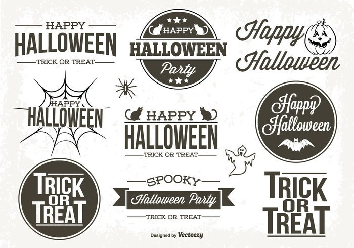 web typography type trick Treat text tag symbol sticker spooky sign set seasonal season scary retro pumpkin October 31 October oct 31 night label set label icon horror holiday happy halloween halloween labels halloween grunge ghost Fall design dark card bat banner background autumn