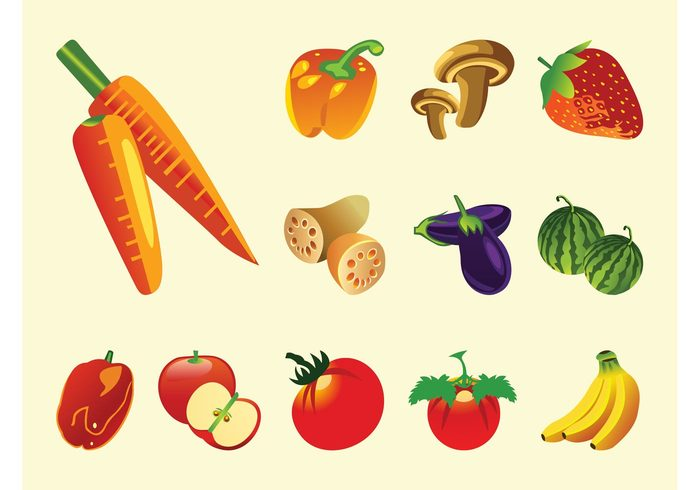 vitamins vegetables tomatoes peppers nature icons Healthy fruits food eat cartoon carrots bananas apples