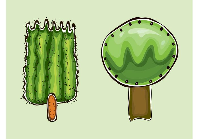 trunks trees plants nature hand drawn forest doodles crowns comic Cartoons