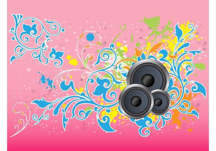 splatter speakers poster plants paint nature grunge flyer floral Flier disco decorations circles boxes blobs
