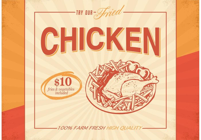 vintage vector texture template Tasty snack roasted Roast retro restaurant premium quality poster plate old nostalgia menu meat meal junk grilled grill gourmet fries with sauce fried chicken fresh food fast food eat dish dinner delicious Damaged crunchy cooked chicken legs chicken bone chicken barbecue background 60's 50's 40s 1940s