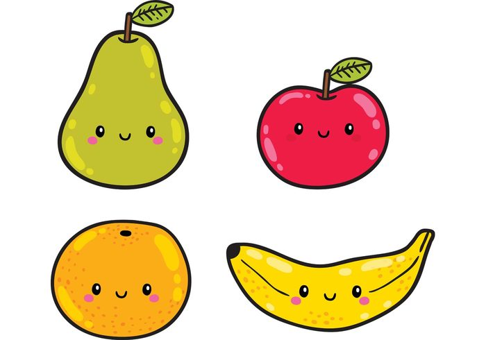 vector fruit pear orange lunch Healthy health fruits food eat dinner cute food cute character breakfast banana apple