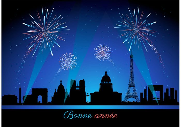 year vibrant vector urban traditional sparks skyline sky showing shiny Pyrotechnics pink party Paris night new years eve new illustration illuminated house holiday glowing france flame firework fire festival exploding event Eve Eiffel Tower design dark color cityscape city celebration carnival bright bonne année background backdrop anniversary abstract