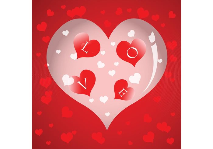 vector red love letters illustration heart essence cute background