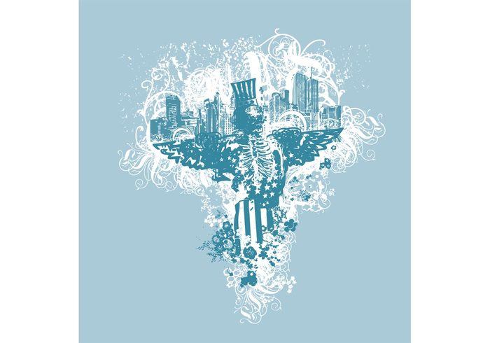urban skull skeleton grungy grunge city vector city background apparel angel