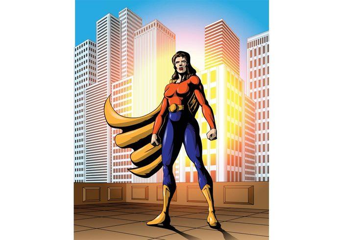 wonderwoman superhero female superhero female Comic Book city buildings background