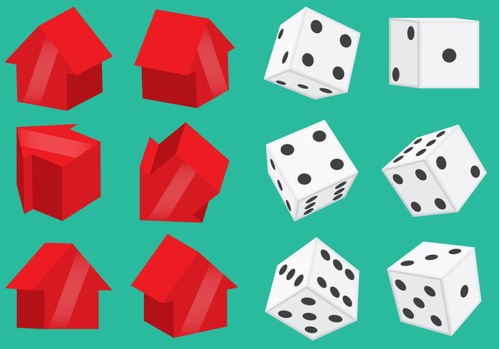 three-dimensional symbol structure standing shopping settlement row residential red own numbers monopoly money mansion Loan isolated illustration icon Human house home finances exterior estate dots dices dice cottage construction Concepts computer community business building activity