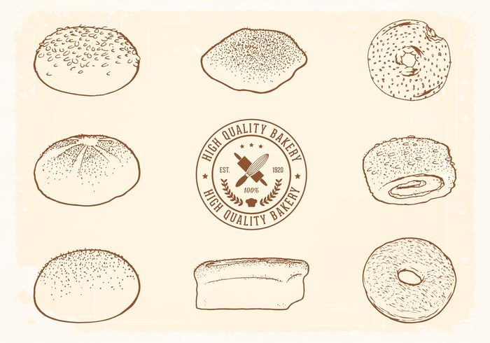 vintage vector traditional Tasty symbol sliced sketch set restaurant pastry natural menu meal label kitchen isolated illustration icon hand grain French food flour drawing draw doodle design daily croissant cook collection breakfast bread rolls bread Braided bakery bake background art