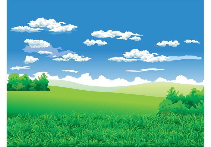 wallpaper Stems sky plants landscape hills grass fields clouds bush background backdrop