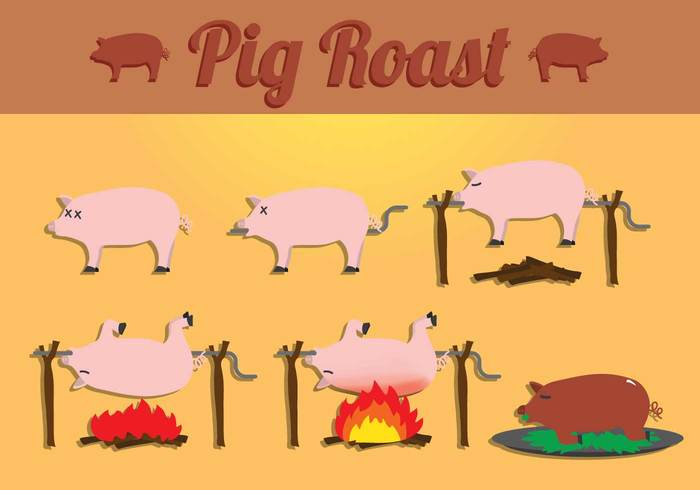 Roast process porky pigs pig roasts pig roasting pig roaster pig roast icon pig roast pig meat grilled grill food dish delicious cooking cook caricature burn barbecue animal
