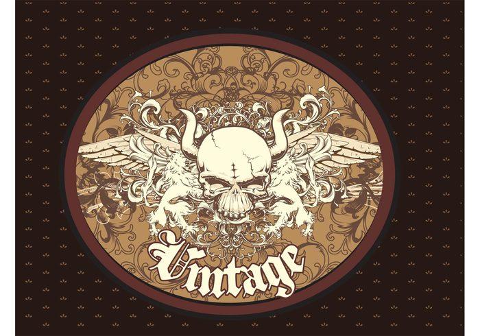 wings vintage template skull seamless scrolls rock repeating pattern metal lion heraldry fly feathers bones animal