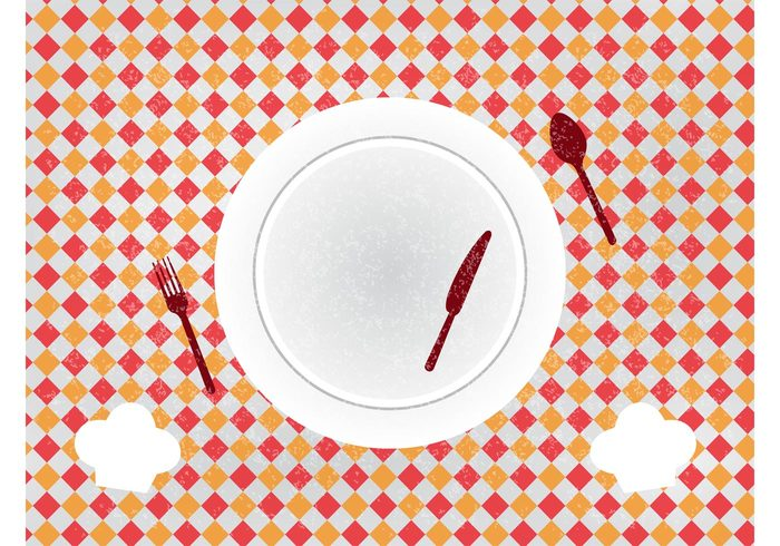 vintage tablecloth stained spoon restaurant plate menu meal knife grunge fork food eat dish cutlery cooking