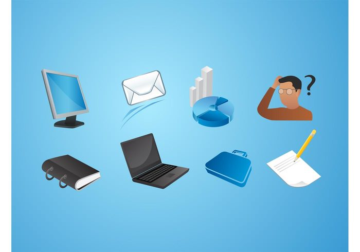 workstation worker planner organizer office notebook laptop envelope computer Clerical business bar graph apps applications