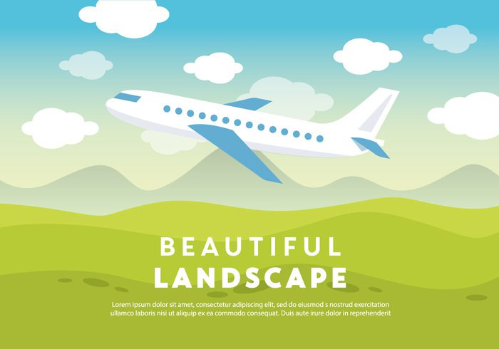 23agffckwl5ik41 Free Beautiful Landscape Vector Backround with Airplane 266433