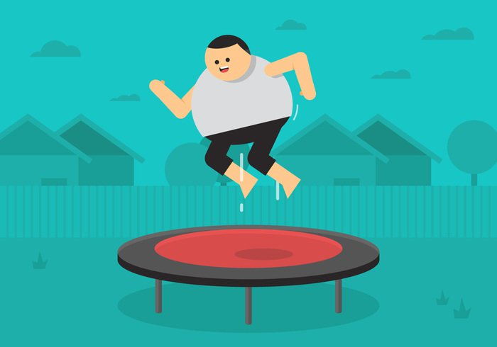 white warm vector trampolining trampoline tramp training sunlight sport smiling school round Recreation playing playground outdoors kid jump isolated illustration high having happy happiness gymnastics gymnast garden funny fun flying flat fatguy fat guy Excited equipment energetic courtyard comic child cheerful cartoon bounce backyard background