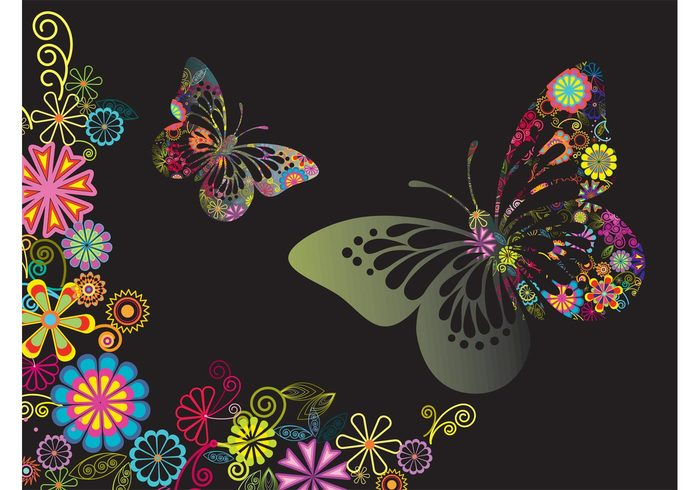 swirls spring plants petals leaves flowers floral butterfly butterflies blossom bloom background