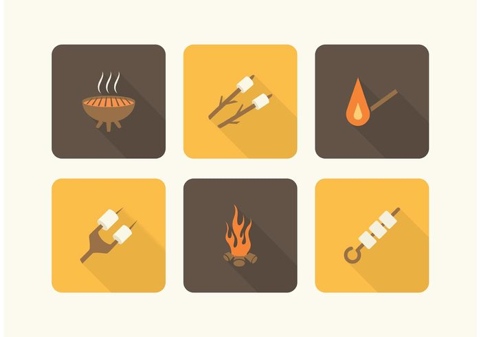 wild vector symbol set Recreation picnic Outdoor marshmallow illustration icon graphic gathering flat flame firewood fire equipment design camping campfire camp marshmallows background Adventure activity