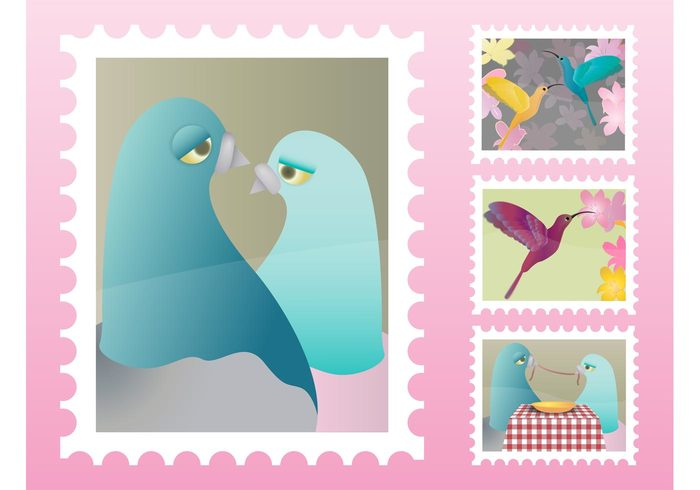sad plant pigeons nature hummingbird flower feeding Family couple eating doves dinner Colibri characters Bored birds