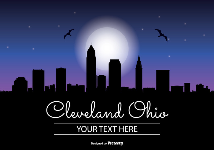 vacation united states travel tower tall stars star skyscraper skyline sky silhouette scraper reflection ohio office night time night moon modern landmark illustration high front downtown Destination dark corporate coast cleveland ohio cleveland night Cleveland cityscape city silhouette city business building blue beautiful background architecture america
