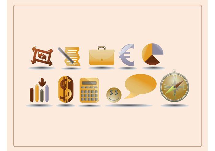 speech set list icons graph euro dollar compass chart calculator brown briefcase abstract
