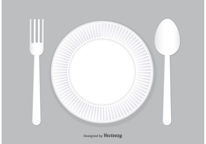 white vector utensil up Three spoon sections round plate plastic spoon plastic plate plastic fork plastic path paper plate paper object Nobody lunch Isolated On White isolated fork food fast food empty eat disposable plate disposable Dishware dinner circle background Above