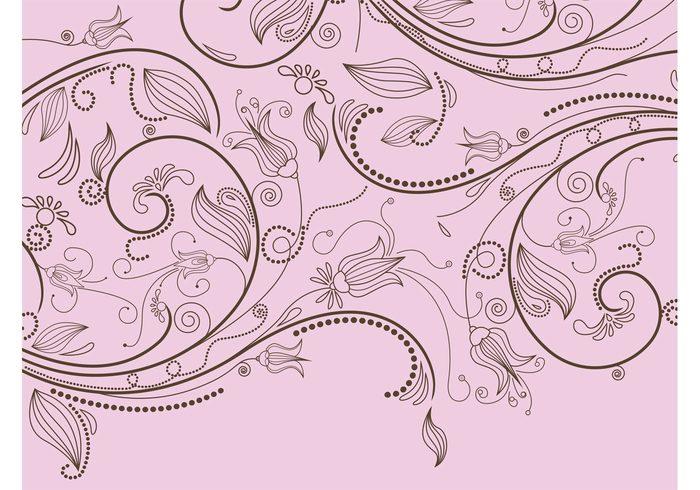 waves twigs swirls subtle spring plants nature vector leaves flowers elegant dots decorations Clothing design