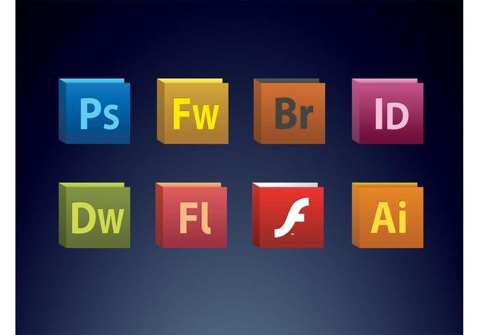 suite Photoshop InDesign illustrator icons Flash Fireworks Dreamweaver cs creative Adobe