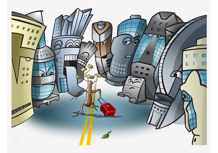 Urbanization urban twigs tree Threat suitcase plants leaves faces environment caricature buildings branches