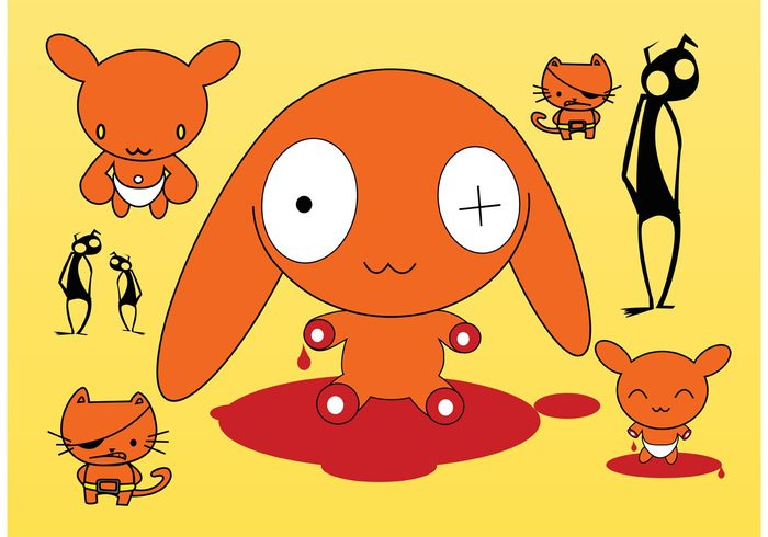 Wounded Smile pirate monster insects happy dog crazy character cat cartoon Bloody blood bleeding ants animals Accident
