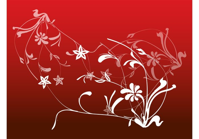 swirls Stems spring silhouettes plants petals pattern leaves flowers decorative decorations background