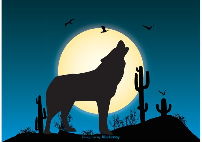 wolf wildlife wild vector spooky sky silhouette shadow predator planet Outdoor night sky night nature mystery mountain moonlight moon midnight landscape image illustration Howling wolf howling Howl horizontal horizon halloween full moon full dog darkness dark coyote concept bright moon blue sky blue background animal