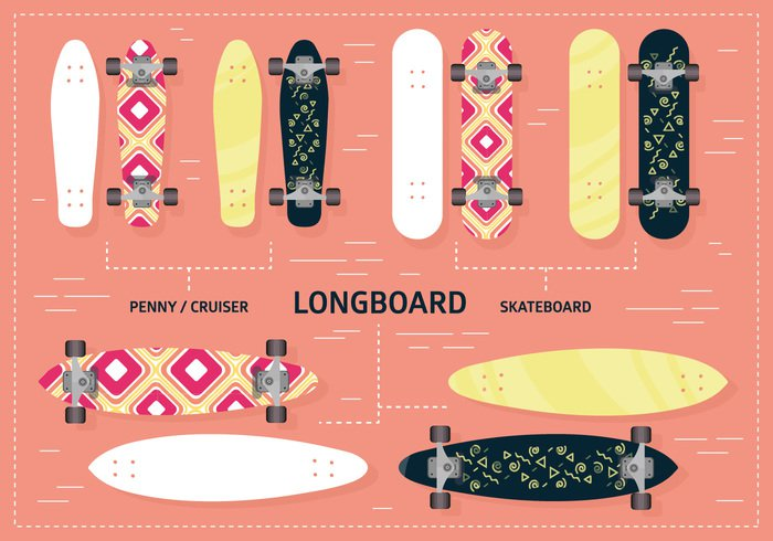 youth white wheel vector urban truck trendy symbol summer sport speed skater skateboarding skateboarder skateboard skate sign set road Recreation orange object longboarding longboarder longboard long lifestyle leisure isolated illustration health graphic flat extreme element drawing design deck cover cool colorful color collection board background art active