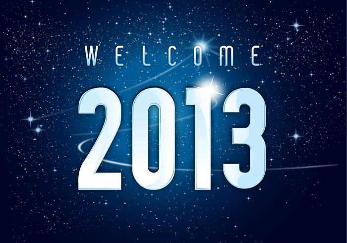 welcome stars space sky night new year galaxy celebration background 2013