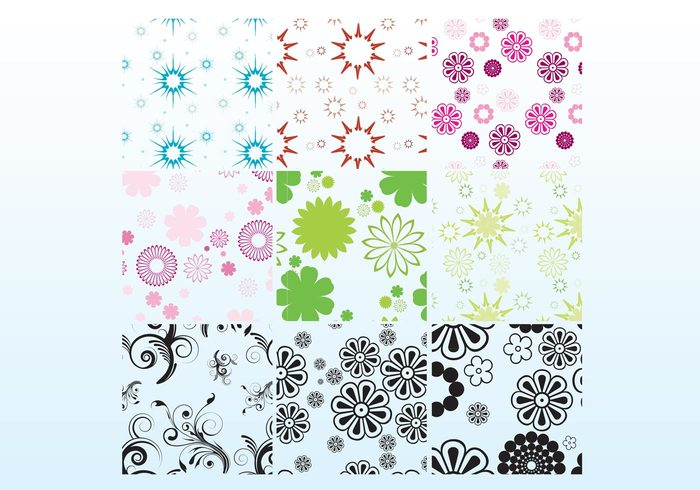 vector pattern starburst star shapes seamless Repetitive pattern flowers floral background backdrop