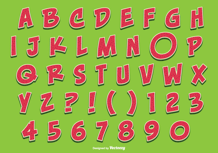 watermelon typography typographic type text symbol sweet sign shape set red preschool organic object nature natural melon letters letter kiddie isolated icon hand green fruit fresh for food font embellishments education drawn design cute color children character cartoon art alphabetical alphabet set alphabet Abs abcd abc