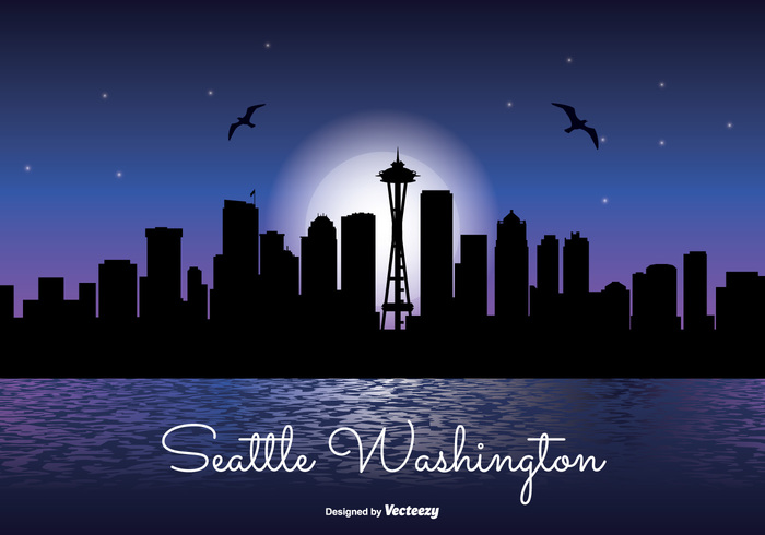 waterfront water washington skyline washington vacation united states travel tower tall skyscraper skyline sky silhouette shoreline shore seattle space needle vector seattle skyline seattle scraper reflection office night time night modern landmark lake high front downtown Destination dark sky dark corporate coast cityscape city skyline city silhouette city business building blue beautiful background architecture america