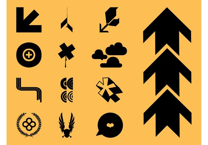 wreath wings winged star Speed bubble speech balloon skull silhouettes pointers icons icon heart geometric shapes cross clouds circles arrows abstract
