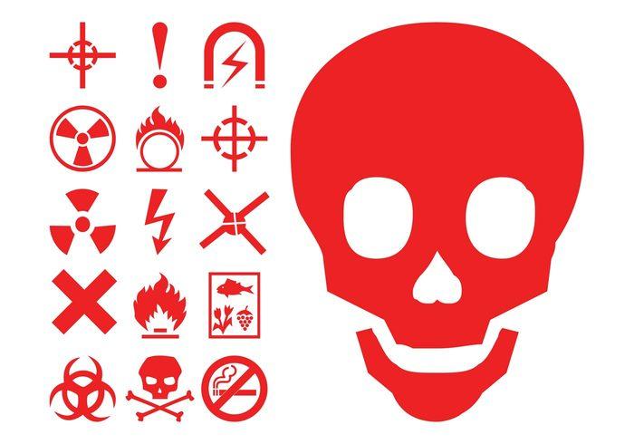 warning symbols skull Radioactivity icons hazard flammable flames fire danger burn bones Biohazard