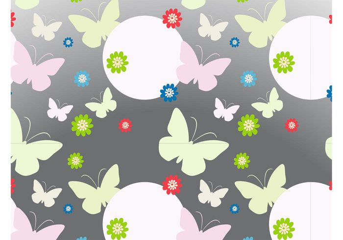 wallpaper vector pattern seamless pattern plants nature insects flowers circles butterflies background Backdrop image animals