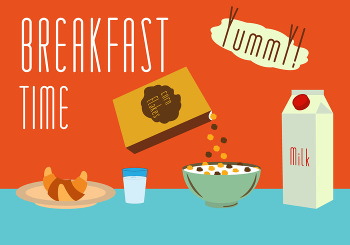 yummy time plate morning milk menu Healthy glass food Flakes drink croissant corn flakes corn cartoon breakfast box bowl