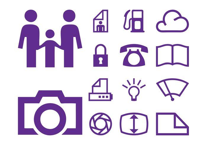 technology tech symbols printer phone people lightbulb lens icons files family documents cloud camera book