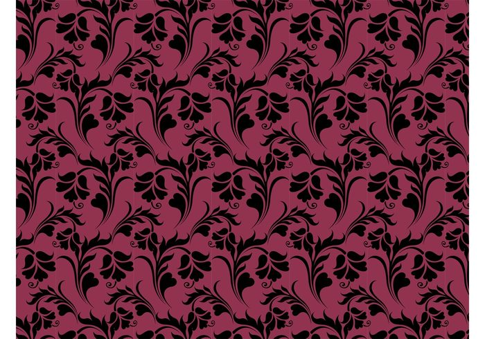 wallpaper vector pattern swirls swirling Stems Repetitive plants petals lines leaves flowers background