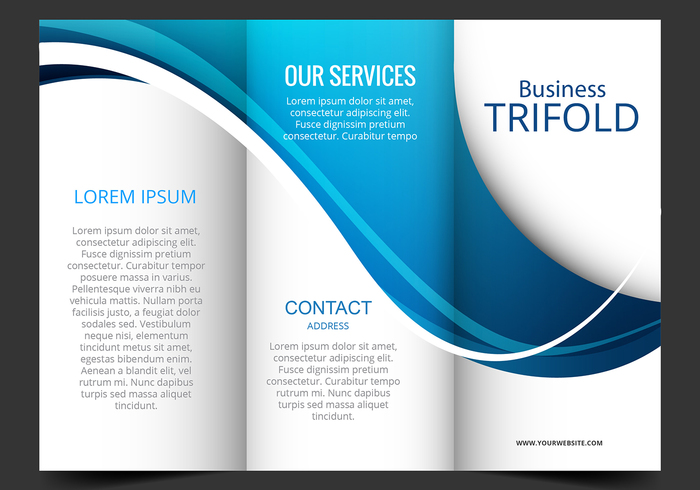 Template Design Of Blue Wave Trifold Brochure  Welovesolo