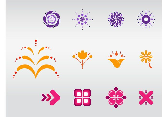 stylized Simplified plants petals nature logos leaves icons Geometry geometric shapes flowers colors colorful bright abstract