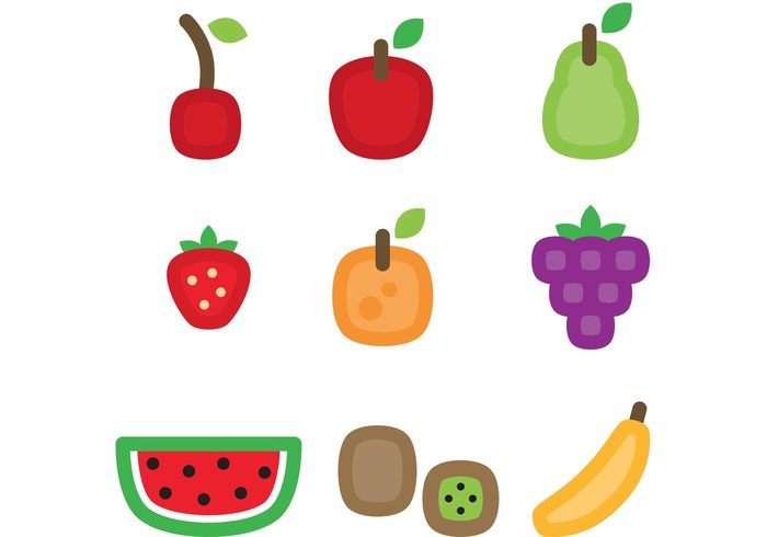 watermelon vitamin vegetarian strawberry pear orange nature kiwi juice icons health grapes grape fruits fruit icon fruit fresh food cherry banana background apple