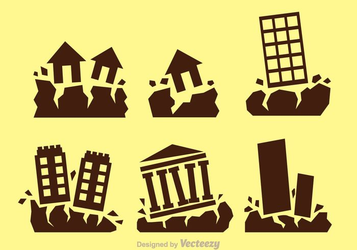 natural land house Fall effect Earthquakes Earthquake icon earthquake Disaster destroy damage crush collapse building