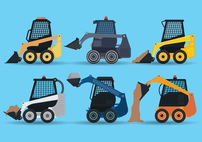 work Vector skid steer transport steer small skid steer skid silhouette set scoop road Mining machinery machine loader land isolated industry industrial illustration icons heavy forklift excavation dump truck construction collection cartoon car building bucket background auto