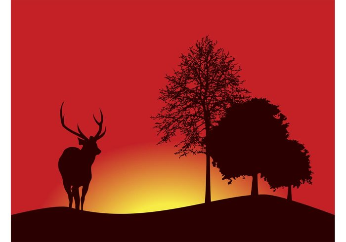 wallpaper trees sunset sunrise silhouettes reindeer nature Forests flora fauna deer background antlers