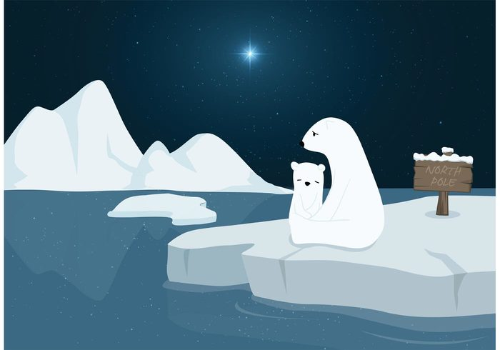 winter white water vector star snow sea sad pole Polar ocean Northern north pole north night nature melting snow melting landscape illustration iceberg ice Global Warming frozen frost freeze floe floating environmental environment cold climate blue bear background arctic animal
