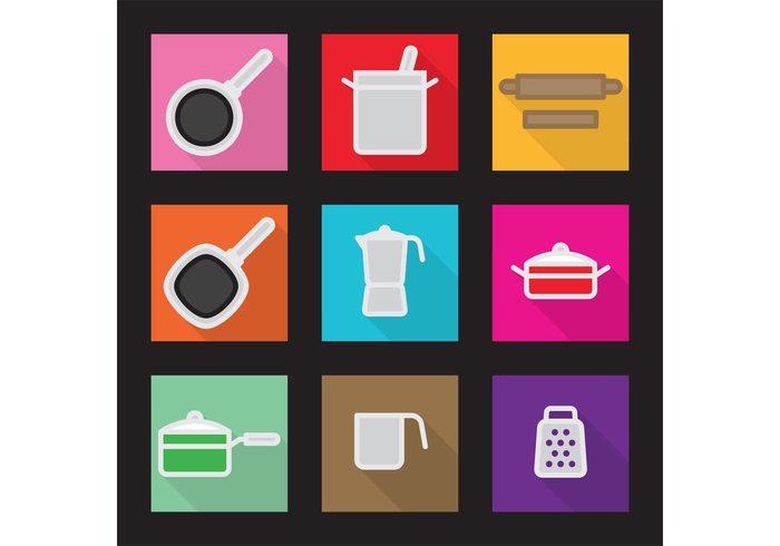 teflon steel mug saucepot saucepan Rolling pin rolling pot mug moka pot moka kitchen icons icon grater frying pan flat cooper sauce pot colorful color Casserole